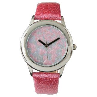 Campo de flor rosado y púrpura relojes de pulsera