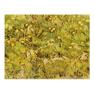 Campo de flores amarillas de Vincent van Gogh Tarjeta Postal