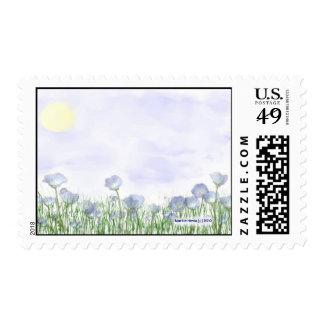 Campo de flores azules sello