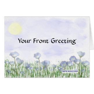 Campo de flores azules tarjeta de felicitación