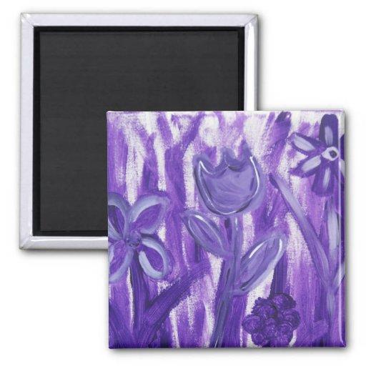 Campo de flores en púrpura imanes