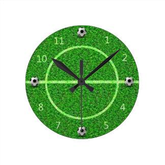 Campo de fútbol del fútbol - reloj de pared