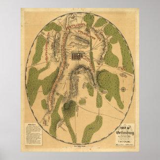 Campo de Gettysburg, el 1 de julio, del 2do y del  Póster