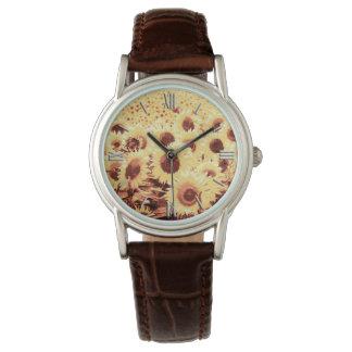 Campo de girasoles - marrón, oro y amarillo reloj de mano
