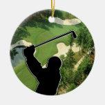 Campo de golf adorno navideño redondo de cerámica
