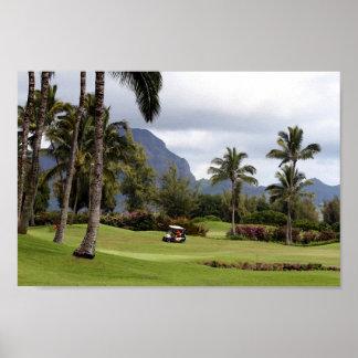 Campo de golf de la bahía de Poipu, Kauai, Hawaii Póster