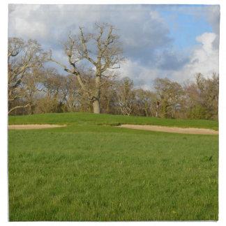 Campo de golf de los vínculos servilleta imprimida
