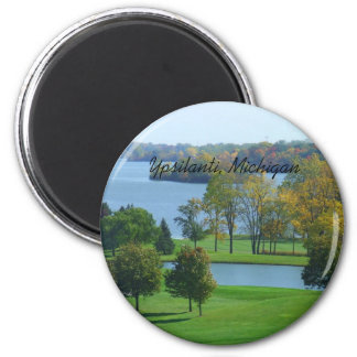Campo de golf de Ypsilanti Michigan en árboles del Imán Redondo 5 Cm