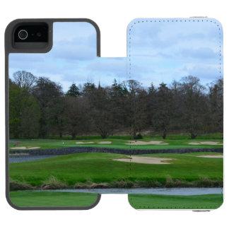 Campo de golf desafiador funda cartera para iPhone 5 watson