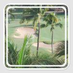 Campo de golf en pegatinas de las zonas tropicales pegatinas cuadradases