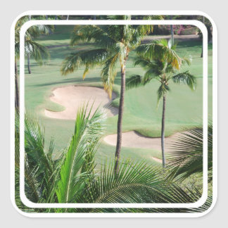 Campo de golf en pegatinas de las zonas tropicales pegatina cuadrada