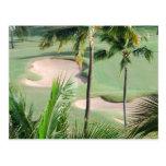 Campo de golf en postal de las zonas tropicales