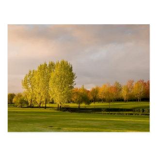 Campo de golf en postal del otoño