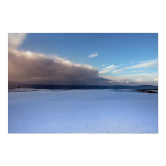 campo de golf nevado costero de los vínculos en to póster