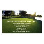 Campo de golf verde en el amanecer plantillas de tarjetas de visita