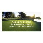 Campo de golf verde en el amanecer tarjetas con fotos personalizadas