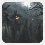Campo de Halloween de la muerte Pegatina Cuadrada