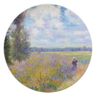 Campo de la amapola, Argenteuil, Claude Monet 1875 Platos Para Fiestas