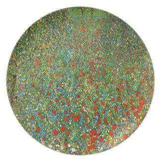 Campo de la amapola de Gustavo Klimt Plato