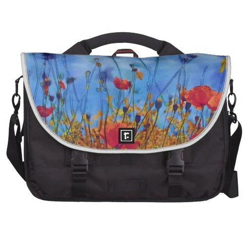 Campo de la amapola del verano - pintura bolsas de portátil
