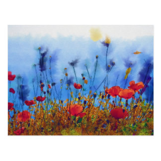 Campo de la amapola del verano - pintura tarjetas postales