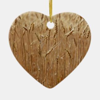 Campo de la cebada adorno navideño de cerámica en forma de corazón