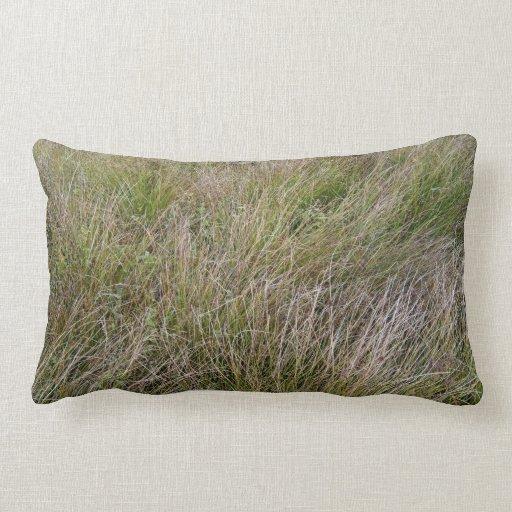 Campo de la hierba seca y del seto amarillos almohadas