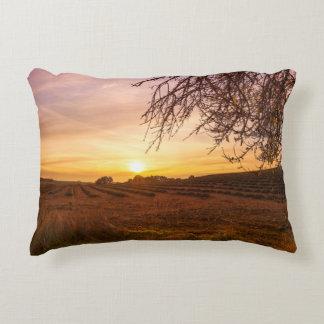Campo de la lavanda del otoño en puesta del sol cojín decorativo