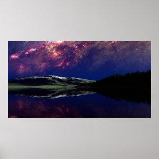 Campo de la nebulosa del cielo nocturno póster