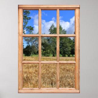 Campo de la opinión de la cebada de una ventana poster