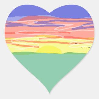Campo de la puesta del sol pegatina corazón personalizadas