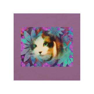 campo de la raqueta del gatito de las flores cuadros de madera
