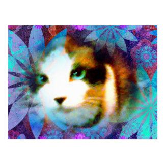 campo de la raqueta del gatito de las flores postal