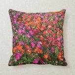 Campo de las flores anaranjadas rosadas púrpuras d cojin