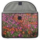 Campo de las flores anaranjadas rosadas púrpuras d fundas macbook pro