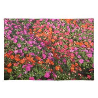 Campo de las flores anaranjadas rosadas púrpuras d mantel individual