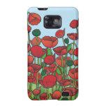 Campo de las flores rojas de la amapola galaxy SII carcasa