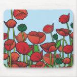 Campo de las flores rojas de la amapola tapetes de raton