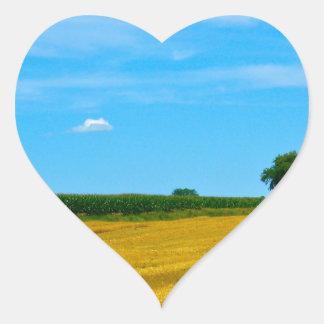 Campo de los granjeros calcomanías de corazones personalizadas