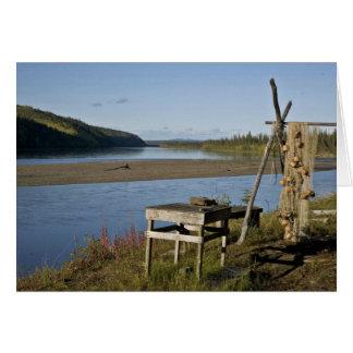 Campo de los pescados de la subsistencia en el río tarjetas