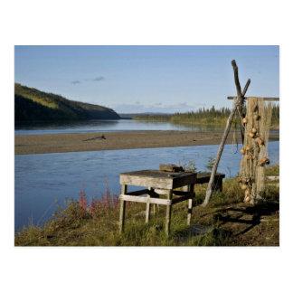 Campo de los pescados de la subsistencia en el río tarjetas postales