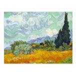 Campo de maíz con Cyprusses de Vincent van Gogh Tarjetas Postales