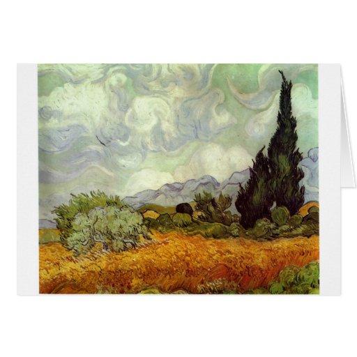 Campo de maíz con los árboles de Cypress Tarjeta De Felicitación