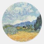 Campo de maíz con los cipreses de Vincent van Gogh Etiqueta Redonda