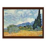 Campo de maíz con los cipreses de Vincent van Gogh Postal