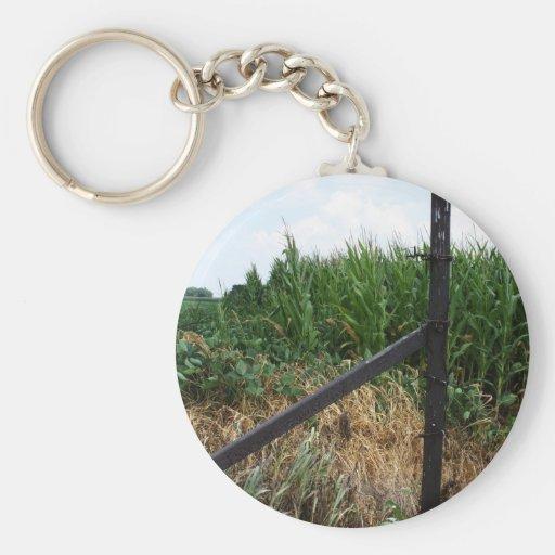 Campo de maíz detrás de la cerca llaveros personalizados