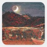 Campo de maíz por el claro de luna, 1830 pegatina cuadrada