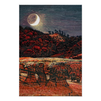Campo de maíz por el claro de luna, 1830 póster