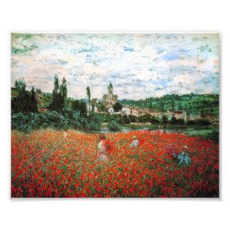 Campo de Monet de amapolas rojas Fotografías