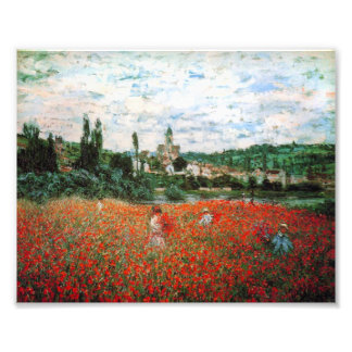 Campo de Monet de amapolas rojas Arte Fotografico